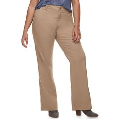 Juniors' Plus Size Unionbay Mid-Rise Heather Twill Bootcut Pants