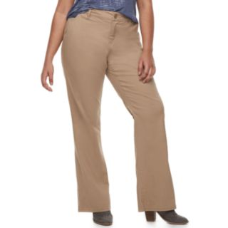 Juniors' Plus Size Unionbay Uniform Heather Twill Bootcut Pants