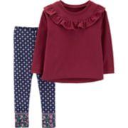 Toddler Girl Carter's Ruffled French Terry Top & Patterned Leggings Set