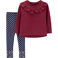 Toddler Girl Carter's Ruffled French Terry Top & Patterned Leggings Set