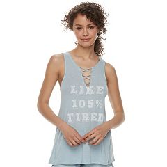 Juniors' Fifth Sun 'Like 105% Tired' Lace-Up Hatchi Tank