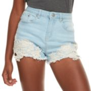 Juniors' Almost Famous High-Waisted Crochet Denim Shorts