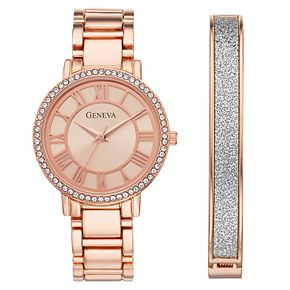 Geneva Women's Crystal Watch & Bracelet Set - KHS8043RG