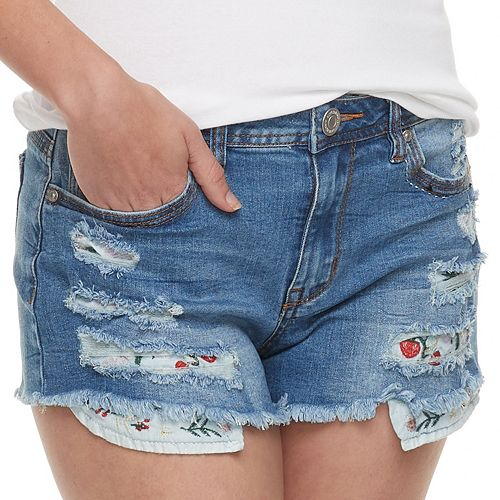 Juniors' Almost Famous Distressed Ripped Jean Shorts
