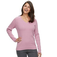 Petite Croft & Barrow® Essential Cable Knit V-Neck Sweater