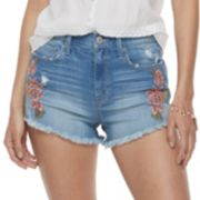Juniors' Mudd® Embroidered High Rise Jean Shorts