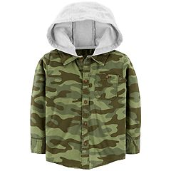 Toddler Boy Carter's Camouflaged Flannel Hooded Button Down Shirt