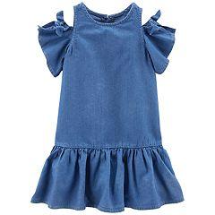 Toddler Girl Carter's Cold-Shoulder Chambray Dress