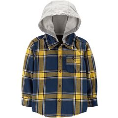 Toddler Boy Carter's Flannel Plaid Hooded Button Down Shirt