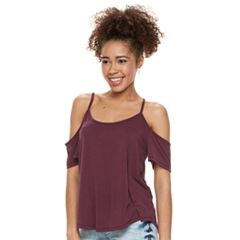 Juniors' Mudd® Cupro Cold-Shoulder Tee