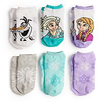 Disney's Frozen Anna, Elsa & Olaf Girls 4-6x 6-pack No-Show Socks