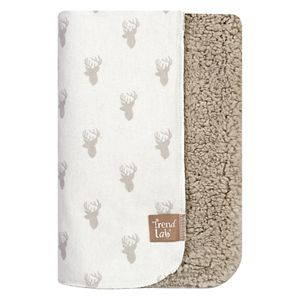 Trend Lab Stag Head Flannel & Faux Shearling Baby Blanket