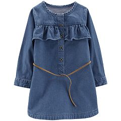 Toddler Girl Carter's Denim Ruffled Dress with Belt