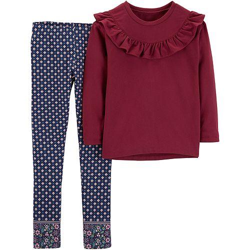 Girls 4-7 Carter's Ruffled Top & Print Leggings Set