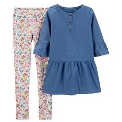 Girls 4-7 Carter's Chambray Tunic & Butterfly Leggings Set