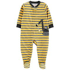 Baby Boy Carter's Striped Construction Truck Footed Pajamas
