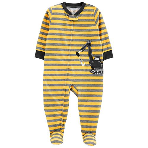 3097e2422 Baby Boy Carter's Striped Construction Truck Footed Pajamas