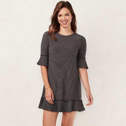 Womens Lc Lauren Conrad Ruffled T Shirt Dress