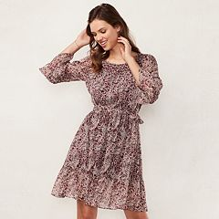 Women's LC Lauren Conrad Print Fit & Flare Peasant Dress