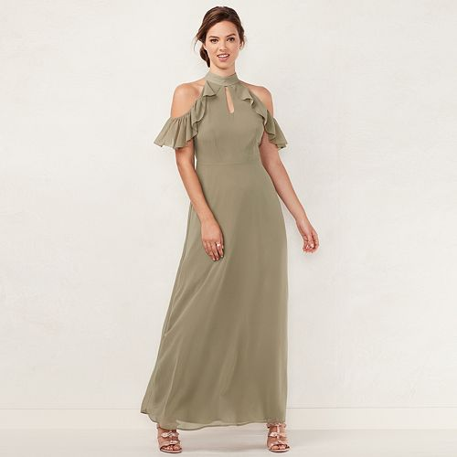 a5e0df2feef Women s LC Lauren Conrad Ruffle Cold-Shoulder Maxi Dress
