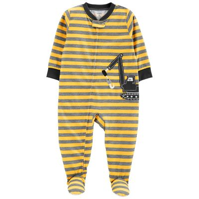 Toddler Boy Carter's Striped Construction Truck Footed Pajamas