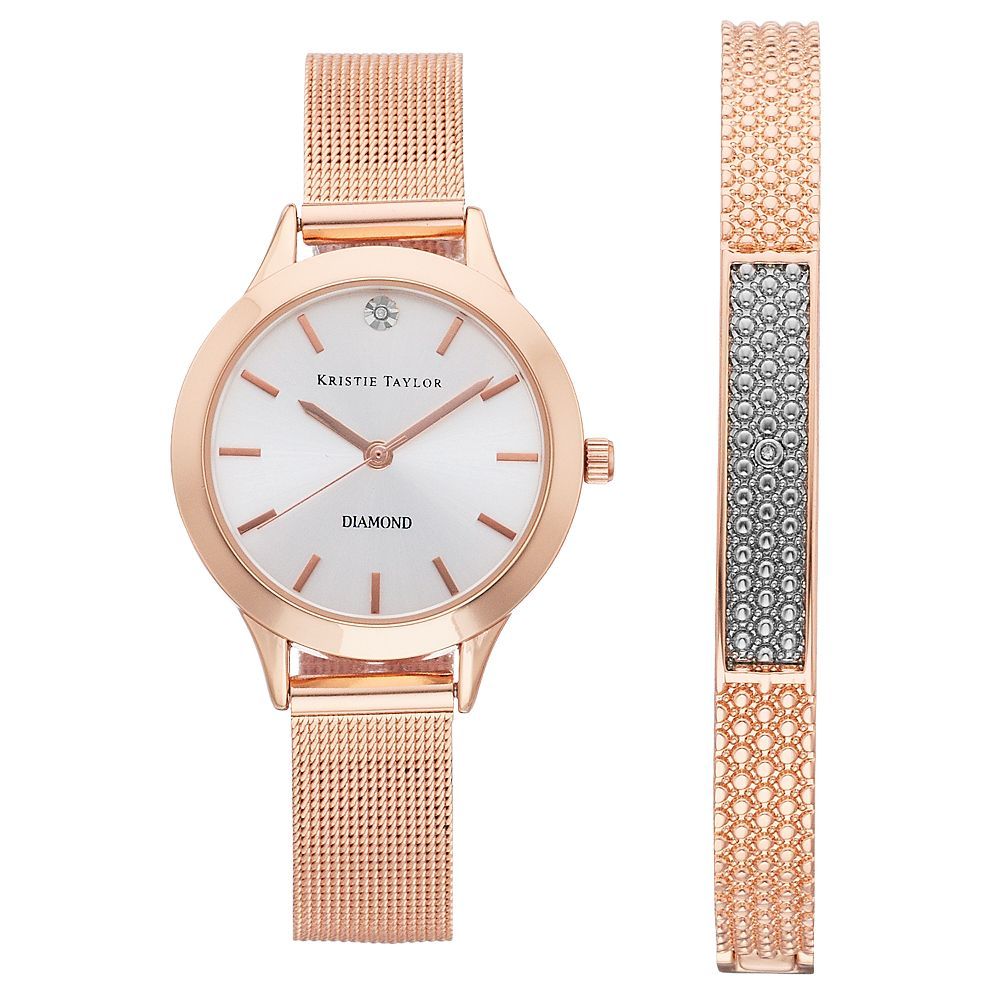 Kristie Taylor Women's Diamond Accent Mesh Band Watch & Bracelet Set - KH8066RG.KT