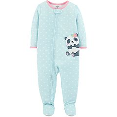 Baby Girl Carter's Polka-Dot Panda Bear Footed Pajamas