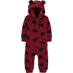 Baby Boy Carter's Bear Microfleece Hooded Coverall