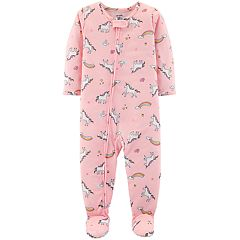 Baby Girl Carter's Unicorn Print Footed Pajamas