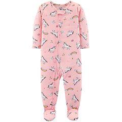 Baby Girl Carter's Unicorn Print Footed Pajamas