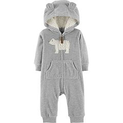 Baby Boy Carter's Sherpa Bear Fleece Hooded Coverall