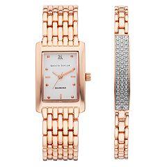 Kristie Taylor Women's Diamond Accent Watch & Bracelet Set - KH8062RG.KT