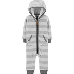 Baby Boy Carter's Striped Fleece Hooded Coverall