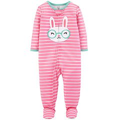 Baby Girl Carter's Bunny Rabbit Striped Footed Pajamas
