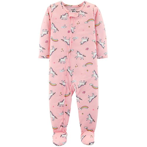 b9e37d18f Toddler Girl Carter's Unicorn & Rainbows Footed Pajamas