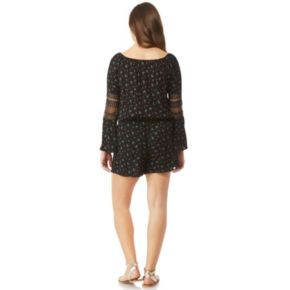 Juniors' Wallflower Printed Off-the-Shoulder Bell Sleeve Romper