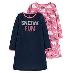 Toddler Girl Carter's 2-pack 'Snow Fun' Critter Nightgowns