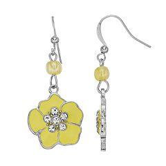 Simulated Crystal Flower Nickel Free Drop Earrings