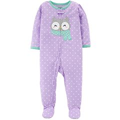 Baby Girl Carter's Polka-Dot Owl Footed Pajamas