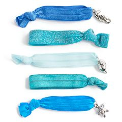 5-pack Blue Glitter Hair Ties