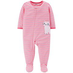 Toddler Girl Carter's Striped Kitty Cat Footed Pajamas