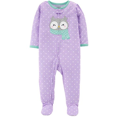 Toddler Girl Carter's Owl & Polka-Dot Footed Pajamas