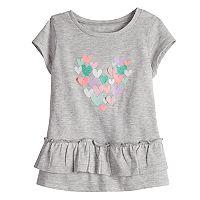 Baby Girl Jumping Beans® Heart Applique Ruffled Top