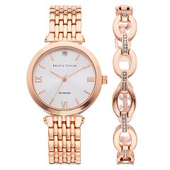 Kristie Taylor Women's Diamond Accent Watch & Bracelet Set - KH8065RG.KT