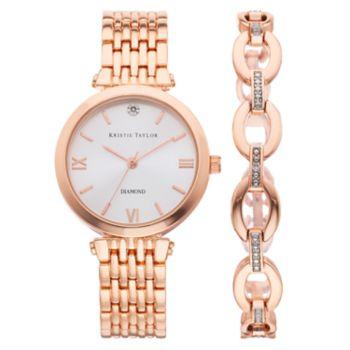 Kristie Taylor Women's Diamond Accent Watch & Bracelet Set - KH8065RG.KT