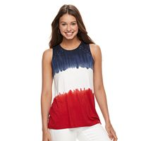 Juniors' Cloud Chaser Patriotic Tie-Dyed Tank