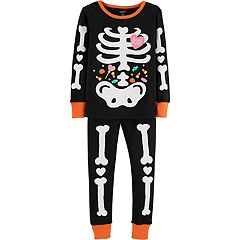 Baby Girl Carter's Glow-In-The-Dark Halloween Skeleton Tops & Bottoms Pajama Set