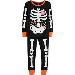 Baby Girl Carter's Glow-In-The-Dark Halloween Skeleton Tops & Bottoms Pajama Set