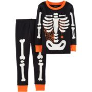 Baby Boy Carter's Glow-In-The-Dark Skeleton Halloween Top & Bottoms Pajama Set