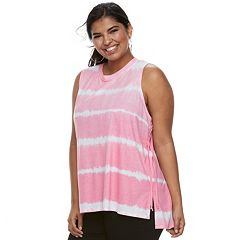 Juniors' Plus Size SO® Lace-Up Side Tank